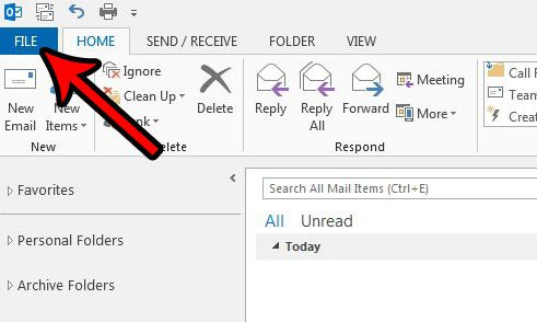 outlook 2013 file menu