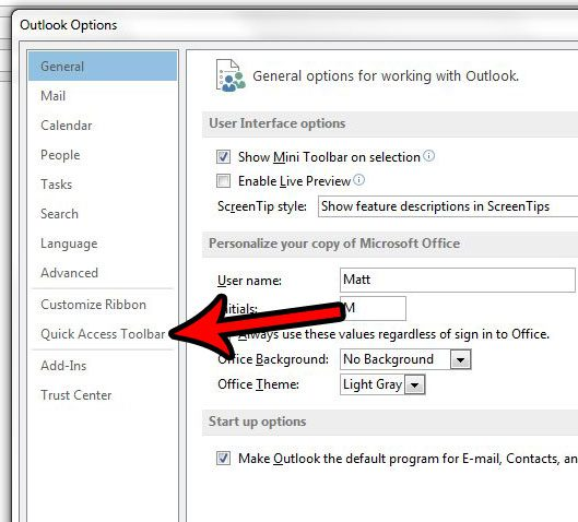 quick access toolbar settings