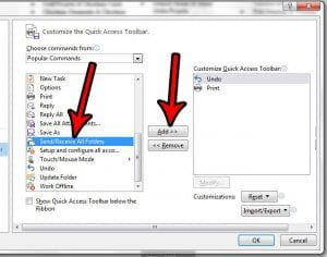 how to add send and receive to outlook 2013 quick access toolbar