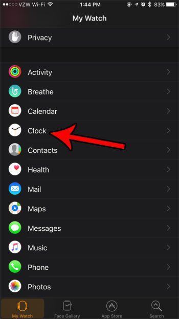 open the clock settings for apple watch