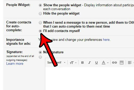 how to turn off auto-complete for gmail contacts