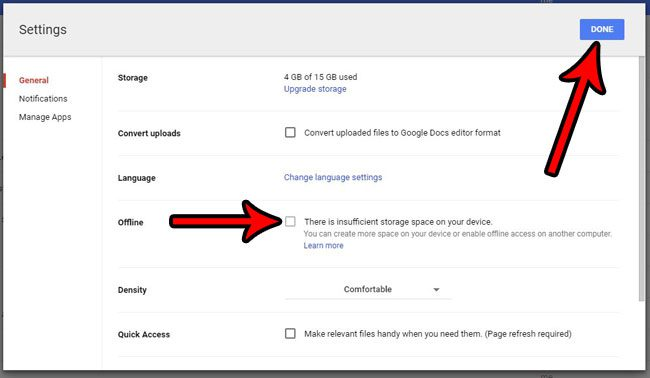 how to turn off offline syncing for google docs