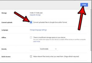 how to convert uploaded files for google docs