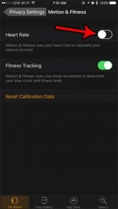 how to disable the heart rate monitor on the apple watch
