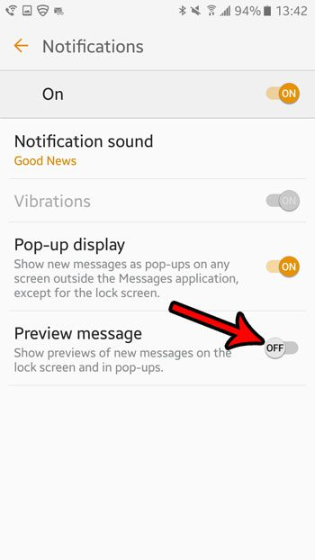 how to disable text message previews in android marshmallow