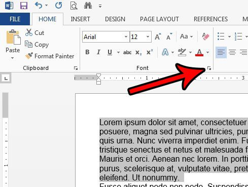 open the fonts menu in word 2013