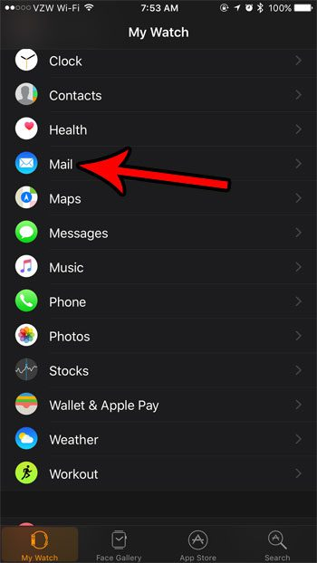 change email notification settings for apple watch