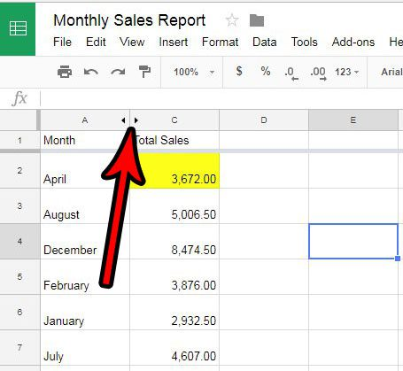 how to unhide a column in google sheets
