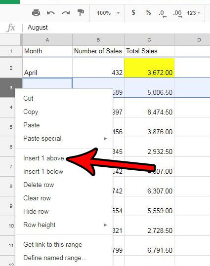 how to insert row google sheets