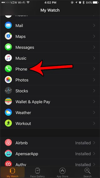 how to change the phone settings on the apple watch