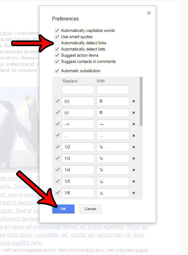 how to stop automatic hyperlinks in google docs