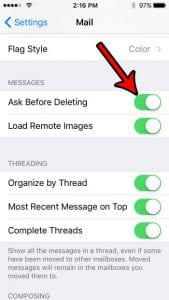 iPhone SE – How to Get a Prompt Before Deleting or Archiving Emails