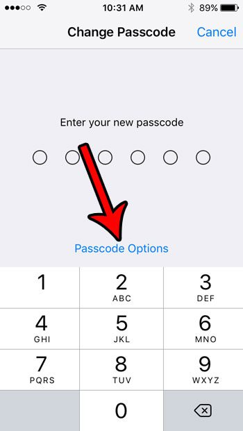 switch to a 4 digit passcode on iphone se