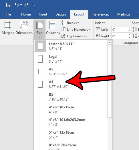 how to change to a4 in word 2016
