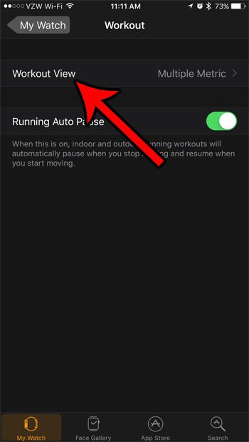 choose the workout view option