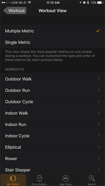 select a workout on the apple watch