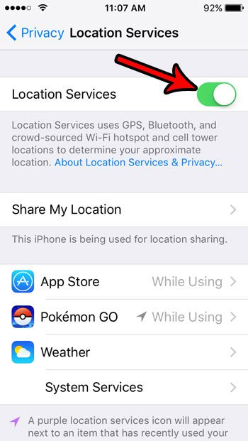 how to turn off location services on an iphone se