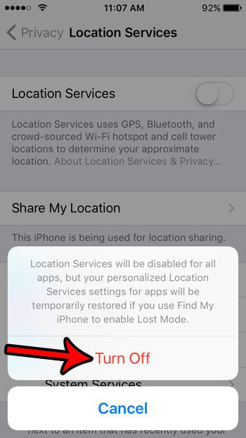 iphone se how to disable location services
