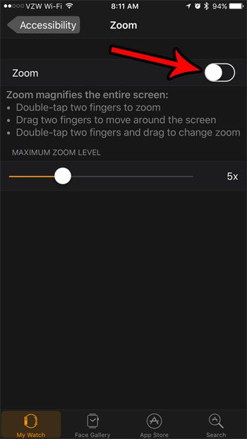 how to disable zoom on the apple watch