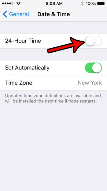 how to switch from 24 hour to 12 hour time format on iphone se