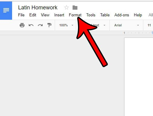 open the google docs format tab
