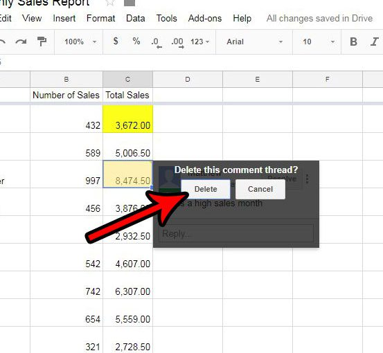 how to delete comment thread in google sheets