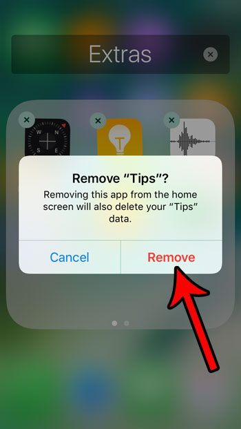 how to remove the tips app on the iphone se