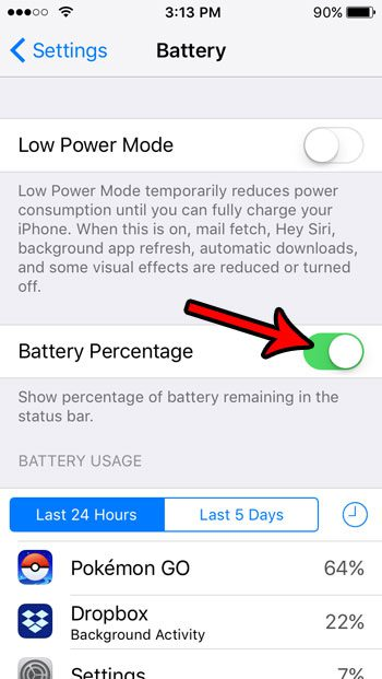 how to show battery as percentage on iphone se