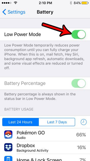 put iphone se into battery saver mode