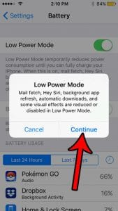 iphone se how enable low power mode