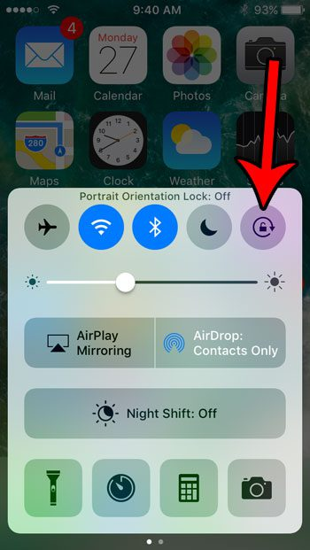 how turn off portrait orientation lock iphone se