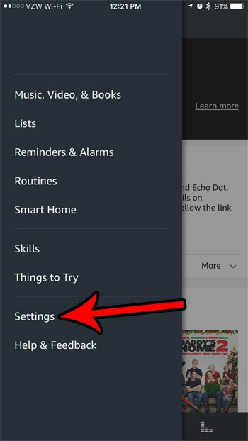 open the alexa settings menu