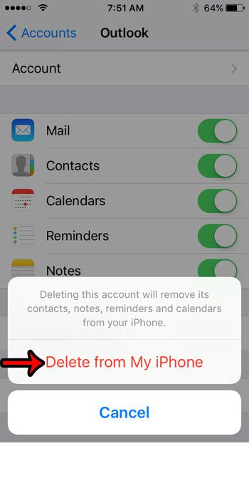 apple iphone se how delete email account