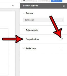 how to add a drop shadow to a picture in google slides