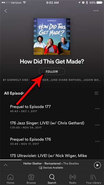 how to follow podcast spotify iphone
