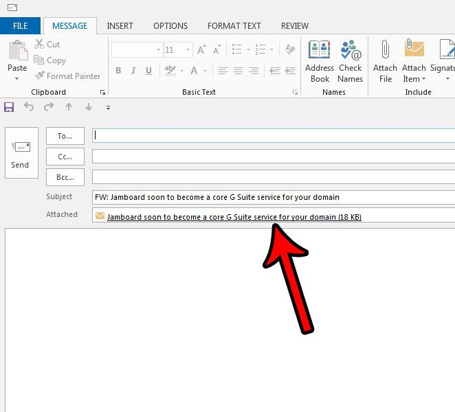 forwarded outlook message attachment