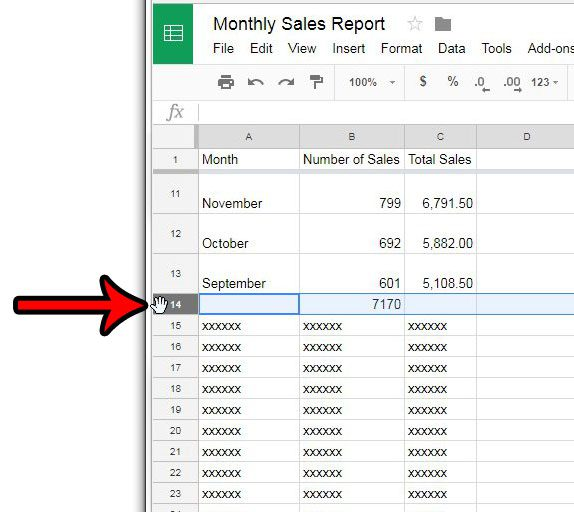 select a row in google sheets