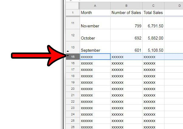 unhide a row in google sheets