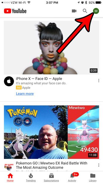 iphone youtube menu