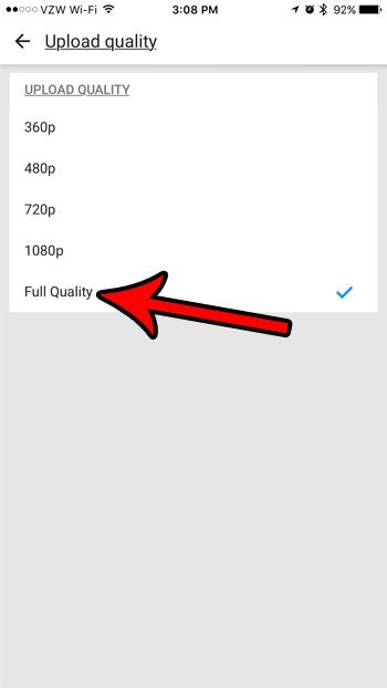 how to enable full quality uploads in the iphone youtube app