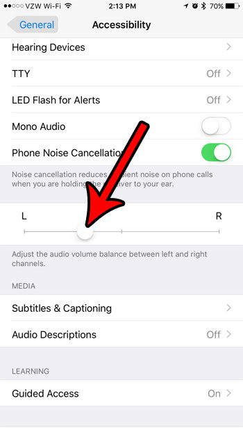how to change audio balance on iphone 7