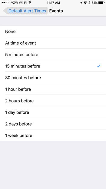 how to set the default alert time for the iphone calendar