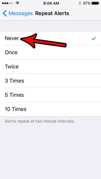 iphone se how to disable repeating message alerts