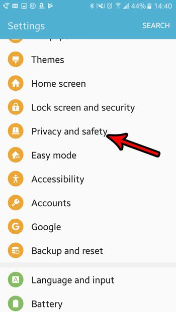 open privacy and safety menu