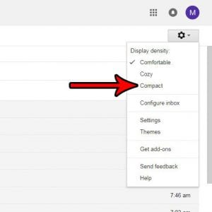 how to switch to compact view in gmail