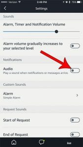 how to disable audio notifications echo dot