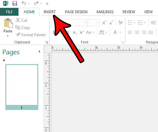 click the insert tab in publisher 2013
