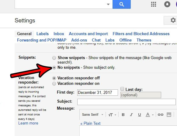 how to stop showing snippets in gmail