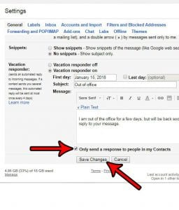 how to send gmail vacation response to contacts only