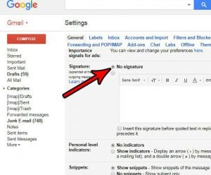 how to remove the signature in gmail
